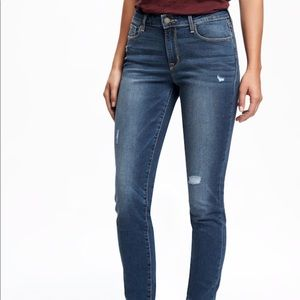 Distressed rock star skinny ankle jeans
